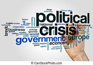politique, mot, crise, nuage