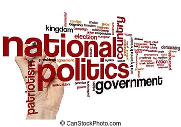 politique, national, mot, nuage