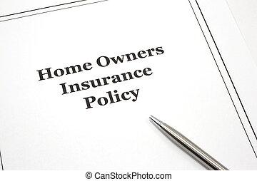 politique, propriétaires maison, stylo, assurance