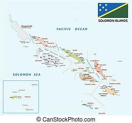 politique, solomon, carte, îles, drapeau, administratif