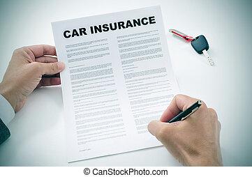 politique, voiture, signer, assurance, homme