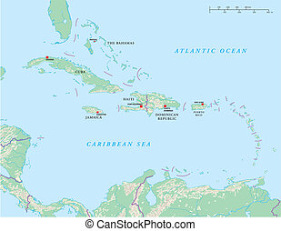 politisch, inseln, karibisch, landkarte