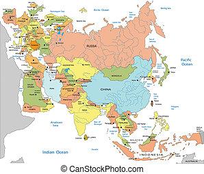 politisch, landkarte, von, eurasien