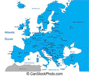 politisch, landkarte, von, europa