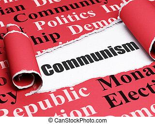 politisk, concept:, svart, text, kommunism, under, den, stycke, av, trasig tidning
