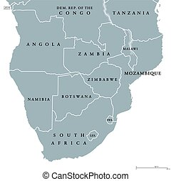 politisk, karta, afrika, sydlig