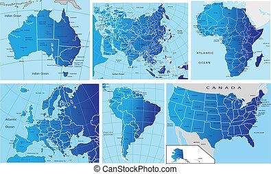 politisk, karta, kontinentar