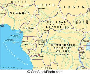 politisk, väst, centrala afrika, karta