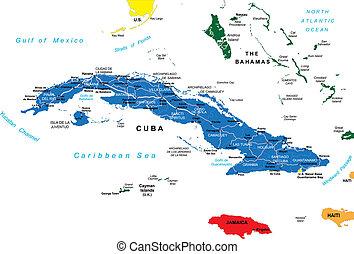 polityczny, kuba, mapa