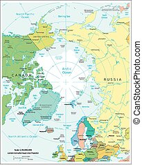 polityczny, okolica, arktyka, dywizje