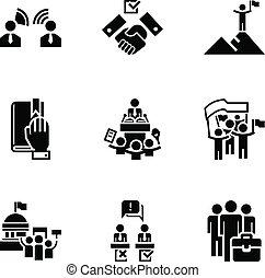 polityczny, wybór, ikona, komplet, prosty, styl