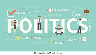 polityka, pojęcie, illustration.