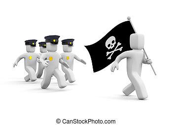 polizei- verfolgung, für, piraterie