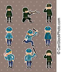 polizia, adesivi, esercito