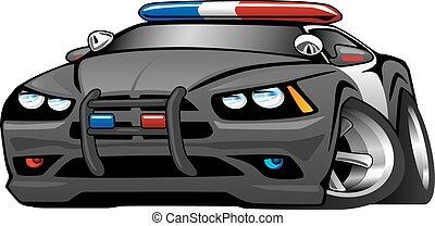 polizia, muscolo, automobile, cartone animato, illustrat