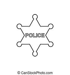 polizia, stella, contorno, icon., lineare