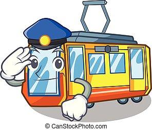 polizia, treno elettrico, in, il, carattere, forma