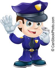 poliziotto, carattere, cartone animato, illustr