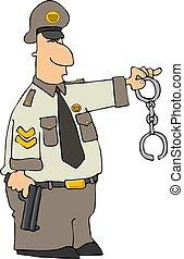 poliziotto, con, polsini