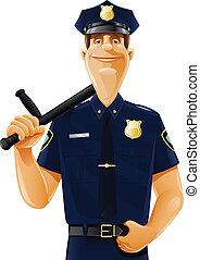 poliziotto, con, sfollagente