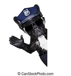 poliziotto, fermata, cane, segno
