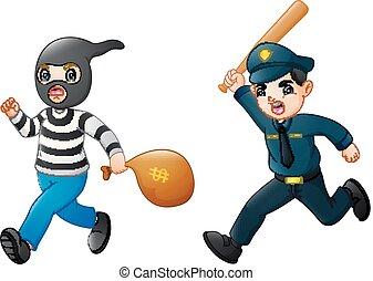 polizist, jagen, karikatur, dieb
