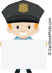 polizist, kind, junge, besitz, a, leer, brett