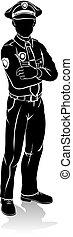 polizist, silhouette
