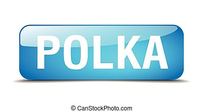 polka blue square 3d realistic isolated web button