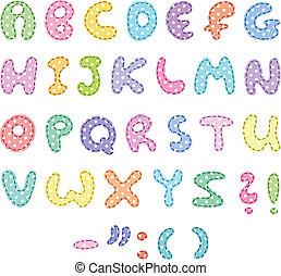 Polka dot alphabet with stitches