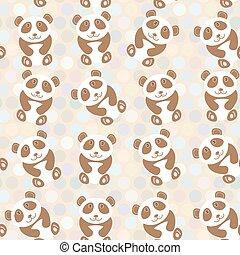 Polka dot background, pattern. Funny cute panda on dot background. Vector