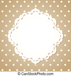 Polka dot background with textile label. Eps 8 vector...
