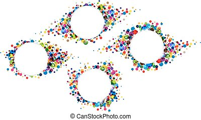 Polka dot backgrounds - Many colourful confetti. Four bright...