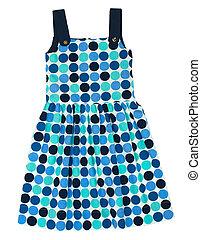 Polka dot dress for girl isolated on white background.