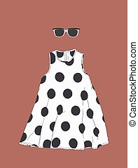 polka dot dress with sun glasses , sketch vector.