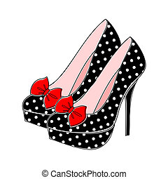 Illustration of retro style shoes with polka dots in black and white and red bow.