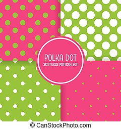 Polka dot seamless pattern background set. Pink and green vector illustration