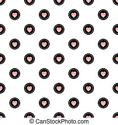 Polka Dot Seamless Pattern with Hearts. Vector illustration, eps10.