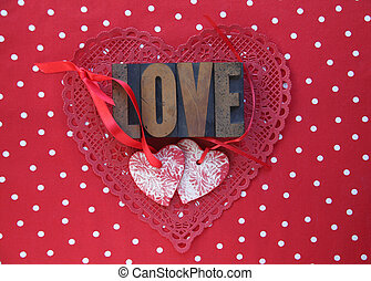 polka dots and Valentine hearts
