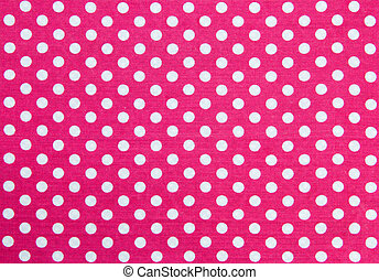 Polka Dots Fabric - Pink Fabric and White Tiny Polka Dots...