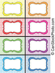 Polka dots labels - Set of eight colorful polka dots labels