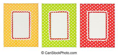 Polka dots photo frame - colored polka dots frames isolated...
