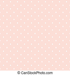 Seamless pattern with white polka dots on a pastel pink background. For cards, invitations, wedding or baby shower albums, backgrounds, arts and scrapbooks.