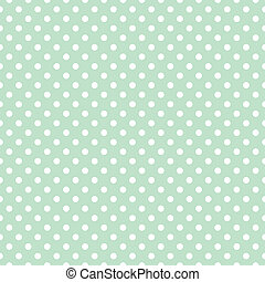 Polka dots vector mint background - Seamless hipster mint...