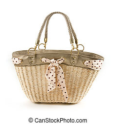Polka dots vintage belt and leather basket tote isolated on white background.