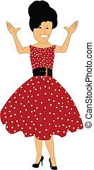 polka, jurkje, jaren '50, punt