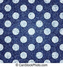 polka-kropka, dżinsy, seamless, tło., wektor, retro