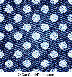 polka-punt, jeans, seamless, achtergrond., vector, retro