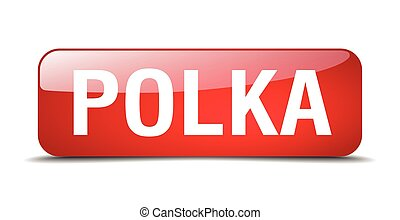 polka red square 3d realistic isolated web button