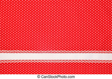 polka, ruban, textile, retro, fond, point, rouges